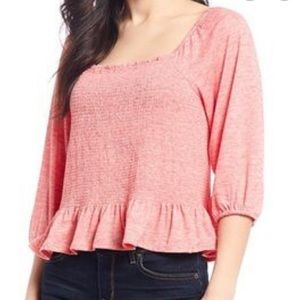 NWT Jessica Simpson Sherrie Faded Rose Smocked Top